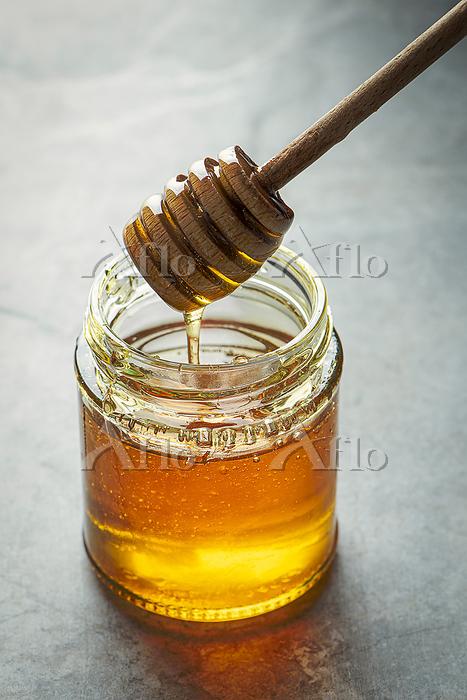 Honey in a jar close up