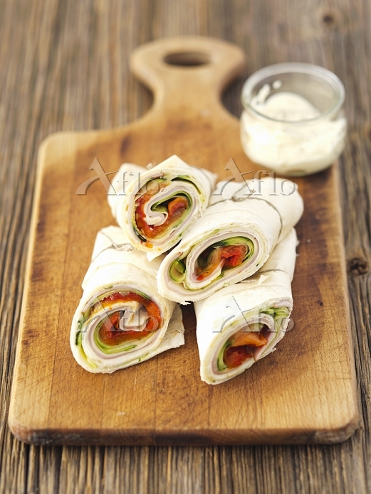 Courgette, ham and cheese wrap・・・