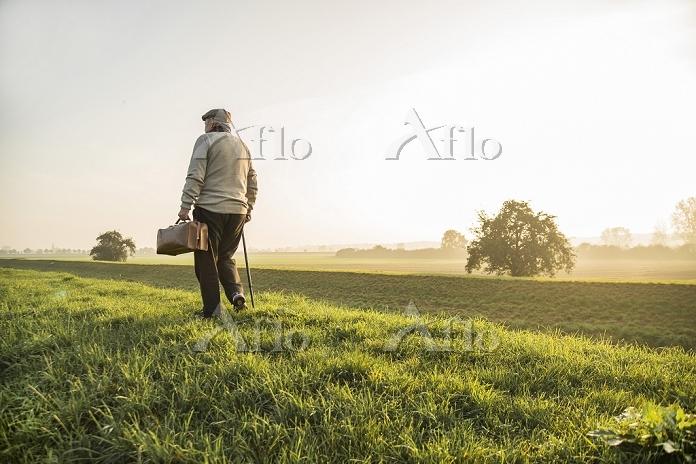 草地を歩くシニア