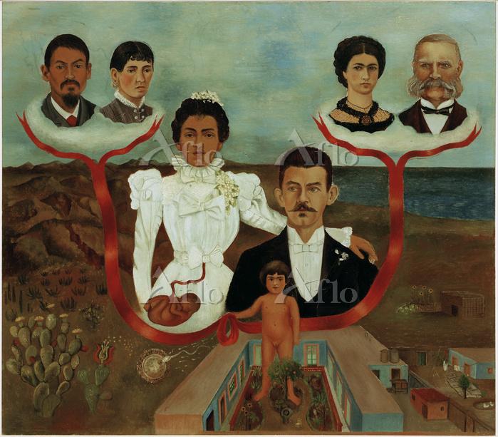 フリーダ・カーロ 「私の祖父母、両親そして私(家系図)」
