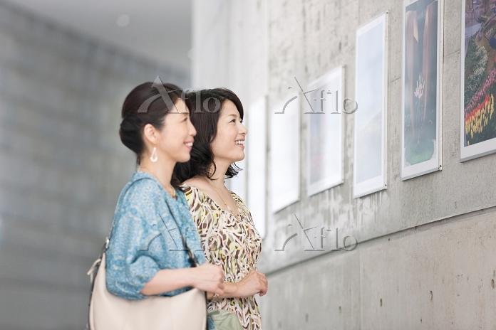 写真を鑑賞する中高年日本人女性