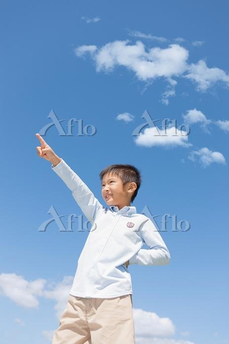 青空の下で指さす日本人の男の子