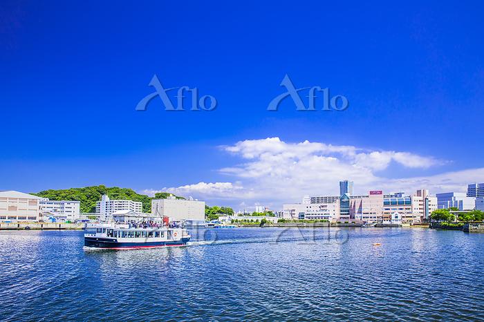 神奈川県 横須賀港と遊覧船