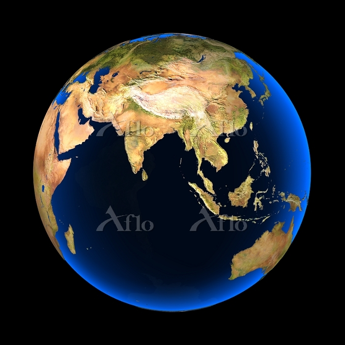 Globe showing the topography o・・・