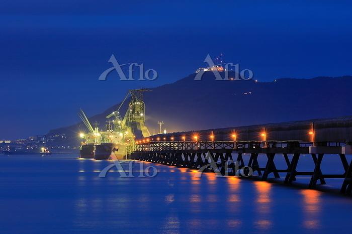 函館山と太平洋セメントの桟橋の夜景
