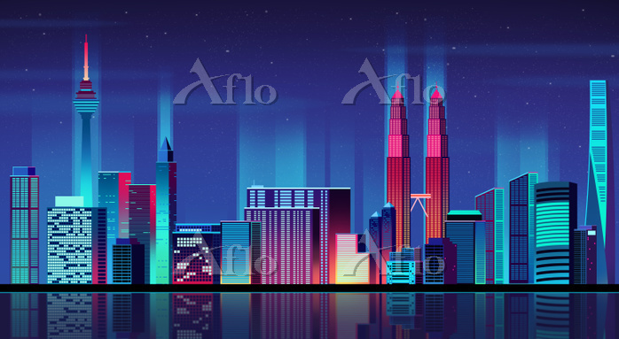Vector - Urban City Nightscape・・・