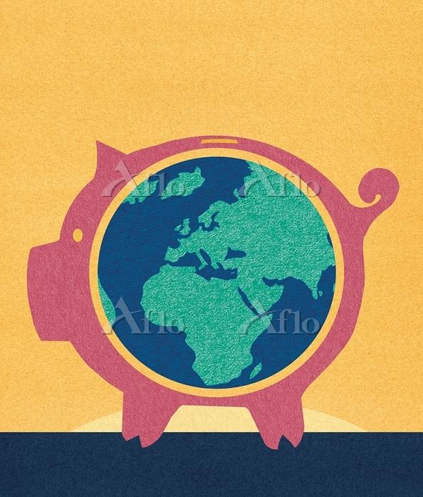 Globe inside piggybank by Marc・・・