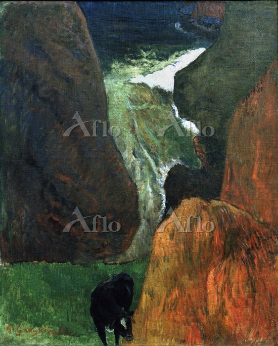 ゴーギャン 「牛のいる海景(海の景色と岩場の牛)」
