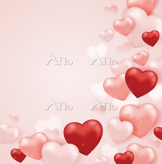 Red and pink heart balloons on・・・
