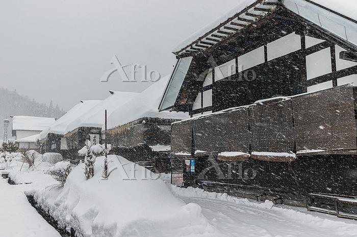 雪降る大内宿 福島県