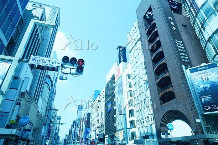 東京都 銀座4丁目交差点と街並