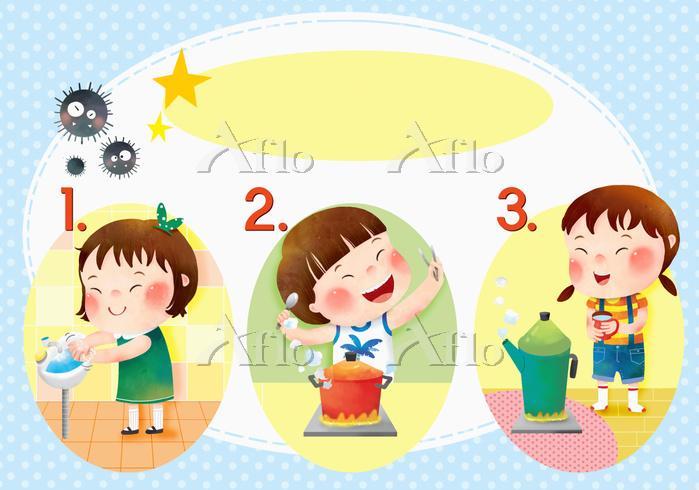 食中毒予防をする子供