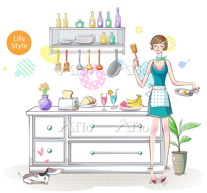 Illustration of woman cooking ・・・