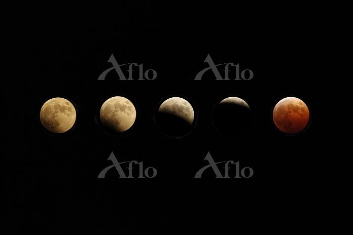 皆既月食の連続イメージ 2014.10.08
