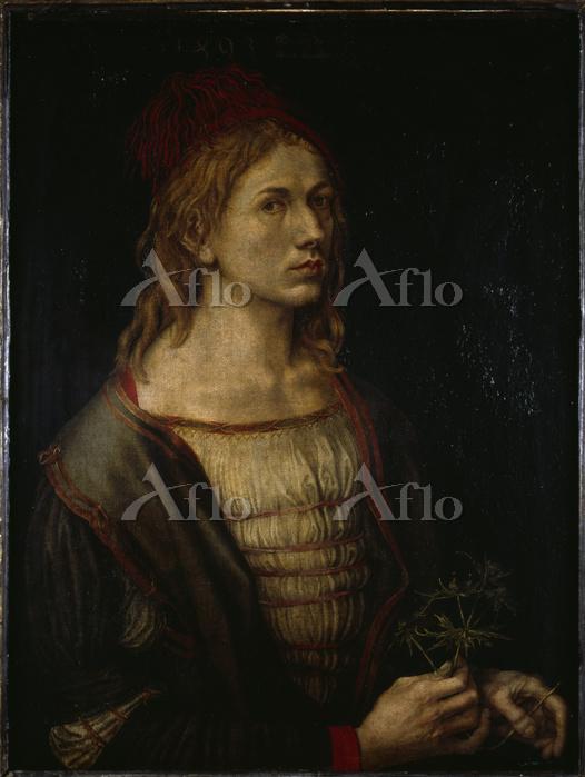 アルブレヒト・デューラー「自画像、もしくはあざみを持った自画・・・