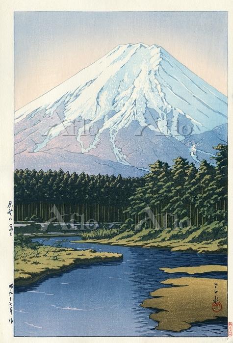 川瀬巴水・作 「忍野の富士 」
