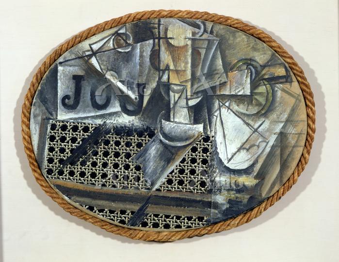 パブロ・ピカソ 「籐張りの椅子のある静物」