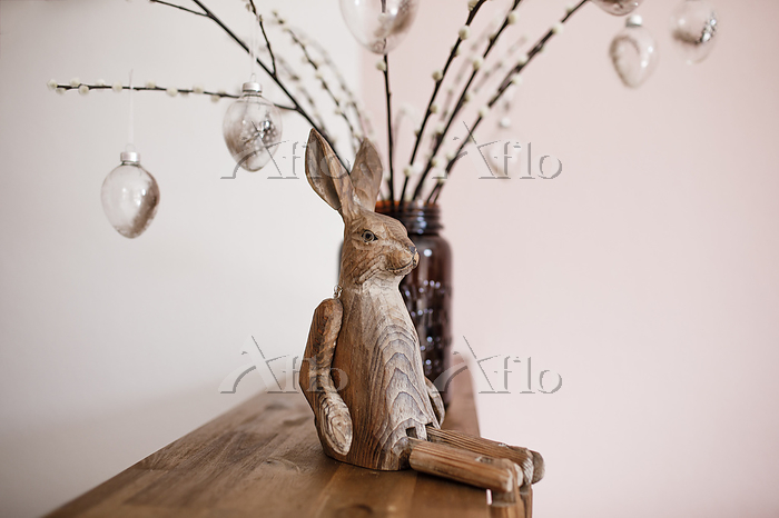 Wooden Easter bunny on a shalf