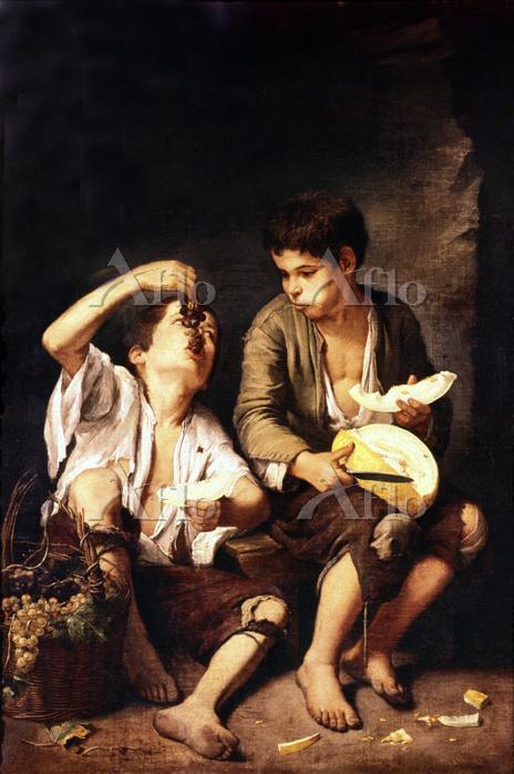 ムリーリョ 「メロンとぶどうを食べる子供たち」