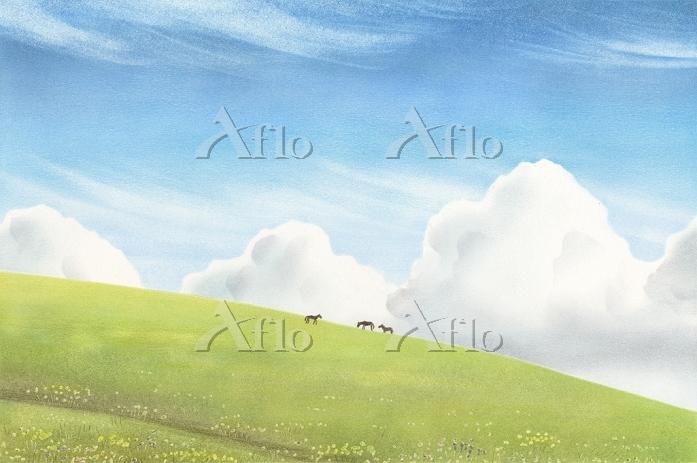 モンゴル・丘の上の馬