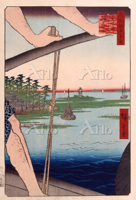 歌川広重 「名所江戸百景 はねたのわたし弁天の社」