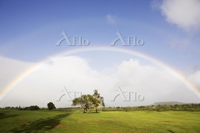 USA, Hawaii, Rainbow over land・・・