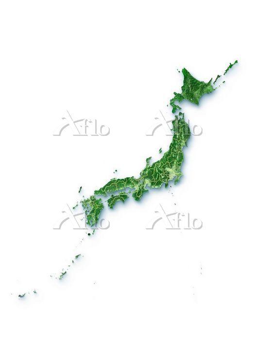 日本列島衛星画像 境界線あり 白背景