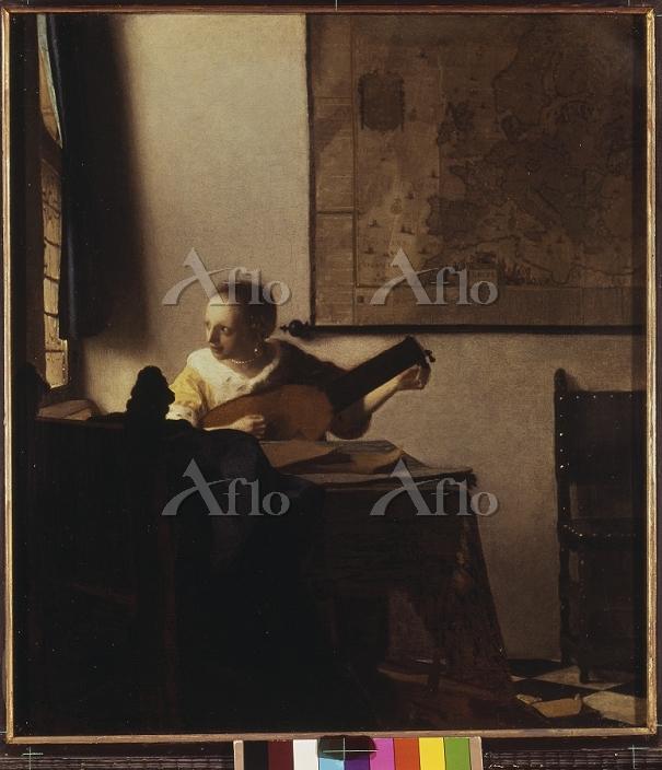 フェルメール 「リュートを調弦する女(窓辺でギターを弾く女)・・・