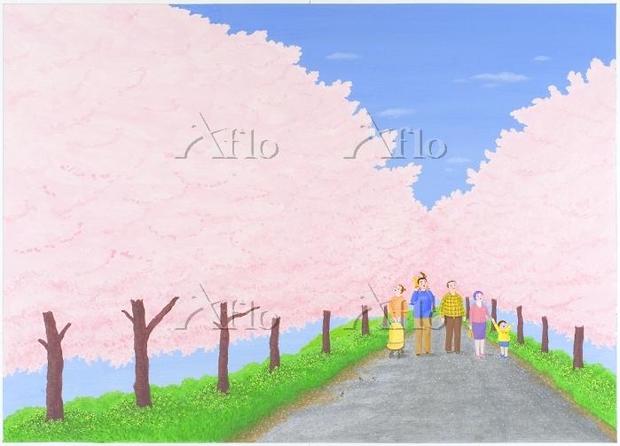 桜咲く春の並木道を歩く家族 イラスト