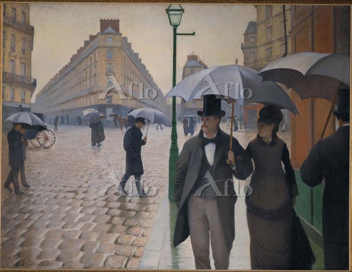 カイユボット「パリの通り、雨(パリの街角、雨)」