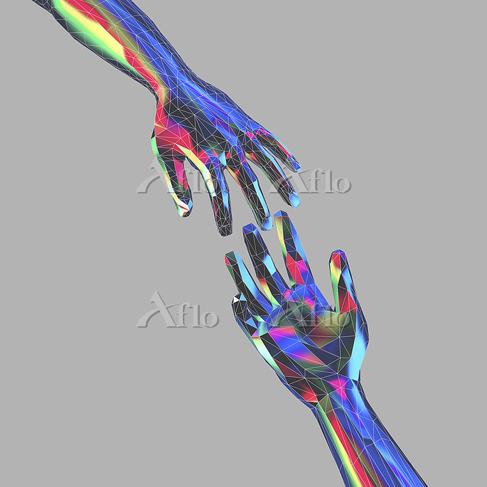 Outstretched hands in low poly・・・