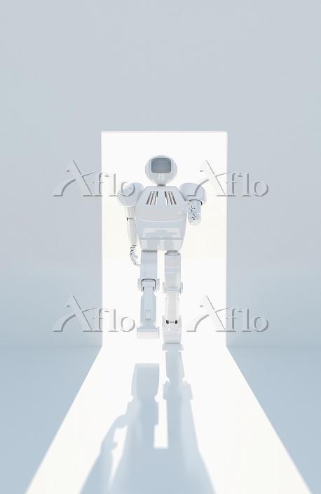 ドアから歩いてくるロボット