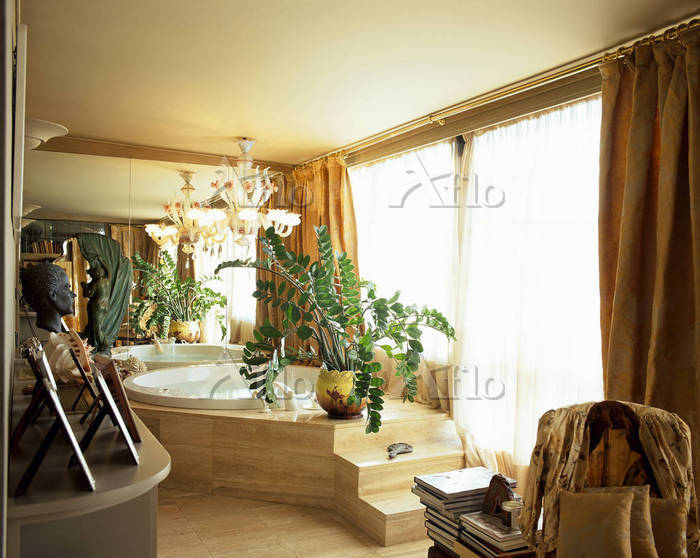 View of an eclectic bathroom