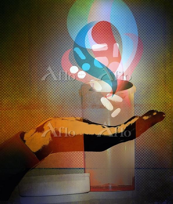Hand catching pills falling fr・・・