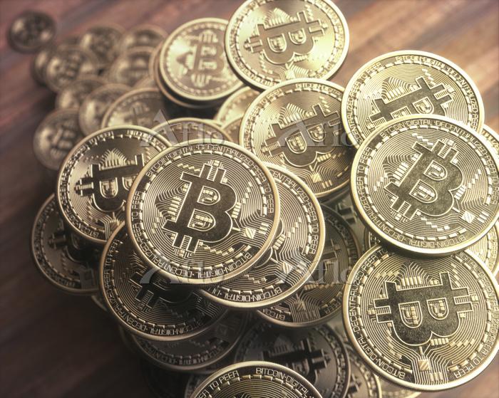 Bitcoins, illustration.