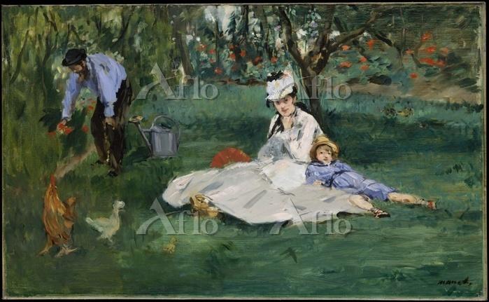 マネ「アルジャントゥイユの家の庭のモネの家族」
