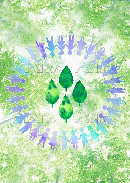 新緑と手を繋ぐ子供たちの輪