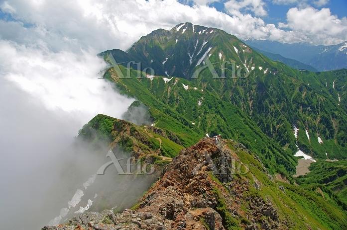 長野県 唐松岳より霧の山陵と五竜岳