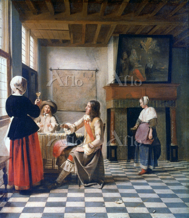 ピーテル・デ・ホーホ「男二人、給仕の女と杯を交わす女」