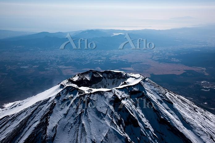 富士山 山頂付近(高度5,000m)より箱根方面