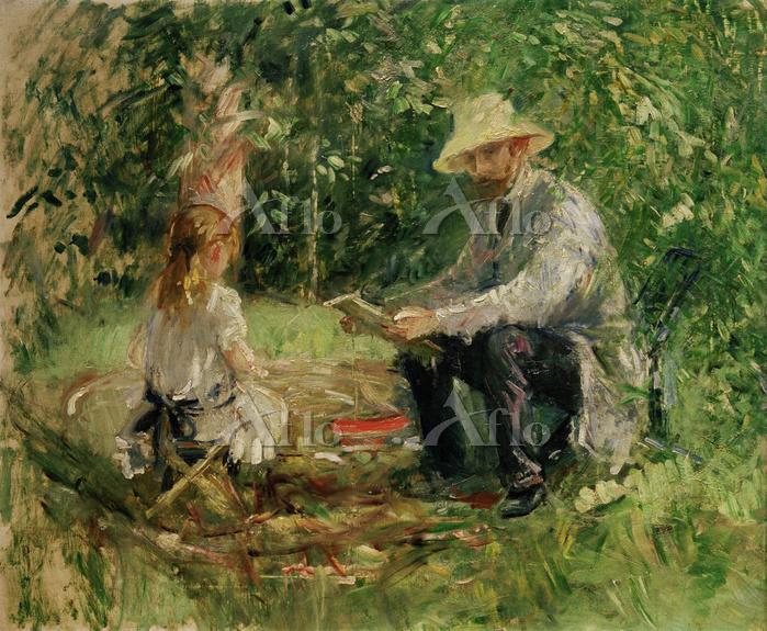 ベルト・モリゾ「庭のウジェーヌ・マネと娘」