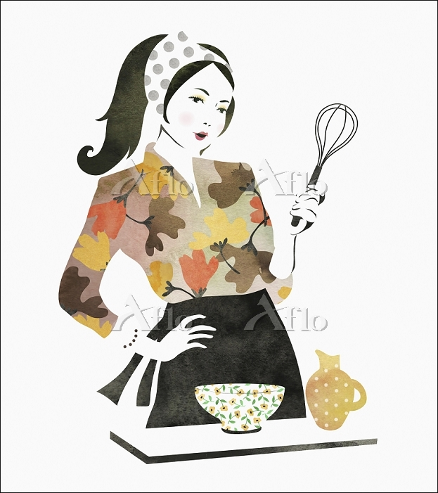 a painting of a woman cooking