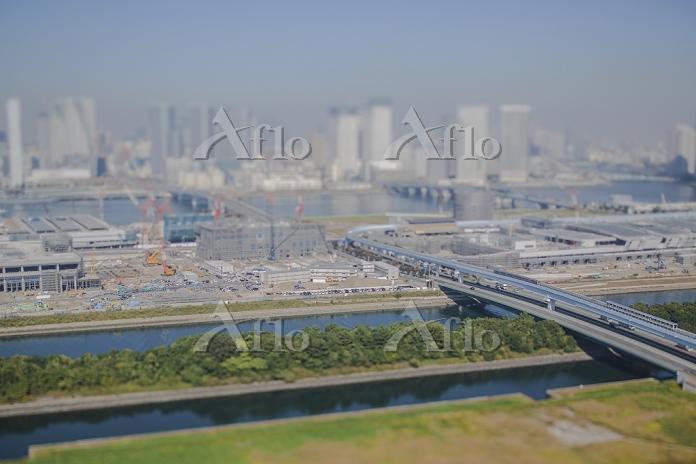 東京都 江東区 豊洲市場建設現場と東雲運河