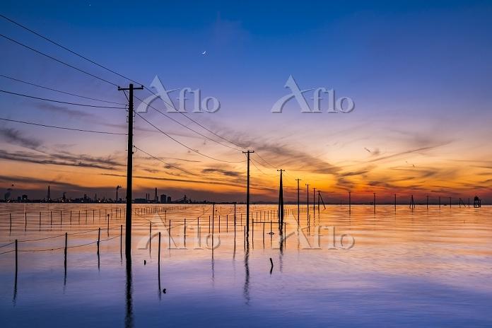 日本 千葉県 夕暮れの久津間海岸