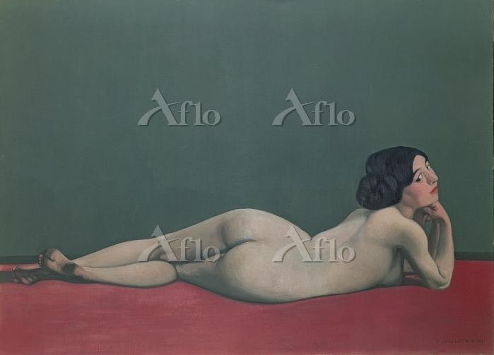 フェリックス・ヴァロットン 「赤い絨毯の上に横たわる裸婦」