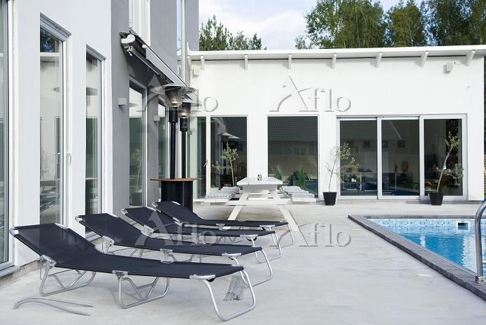 Black aluminium loungers on a ・・・