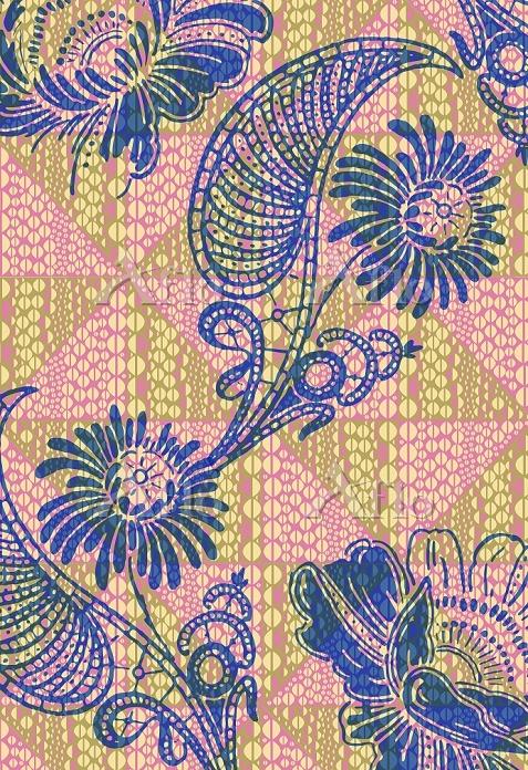 Tropical flowers over geometri・・・