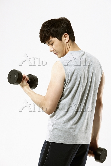a man working with weights