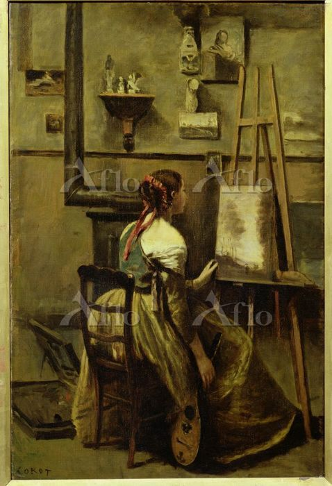 カミーユ・コロー 「コローのアトリエ、画架の前に座る若い女」