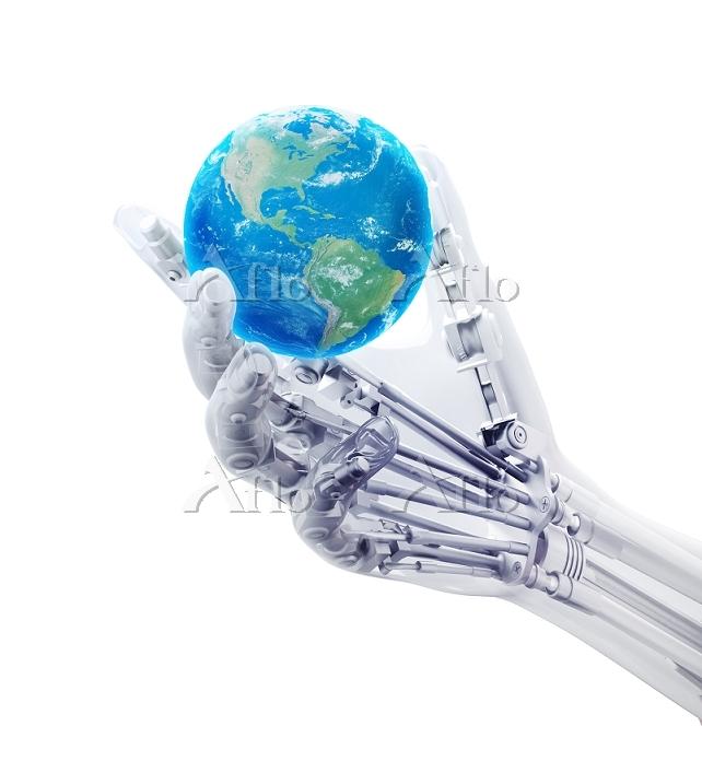 Robotic hand holding a globe, ・・・
